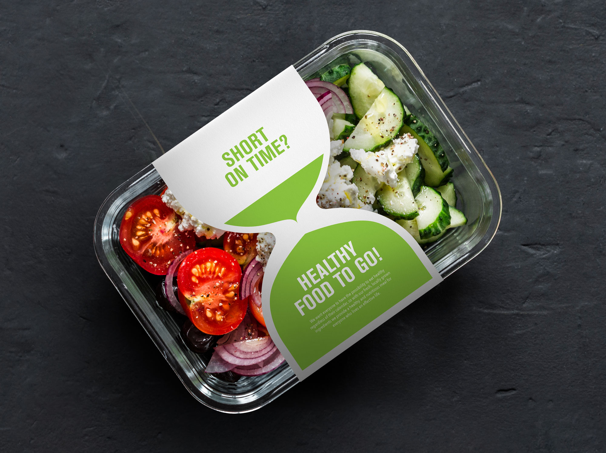 salad package with linerless label