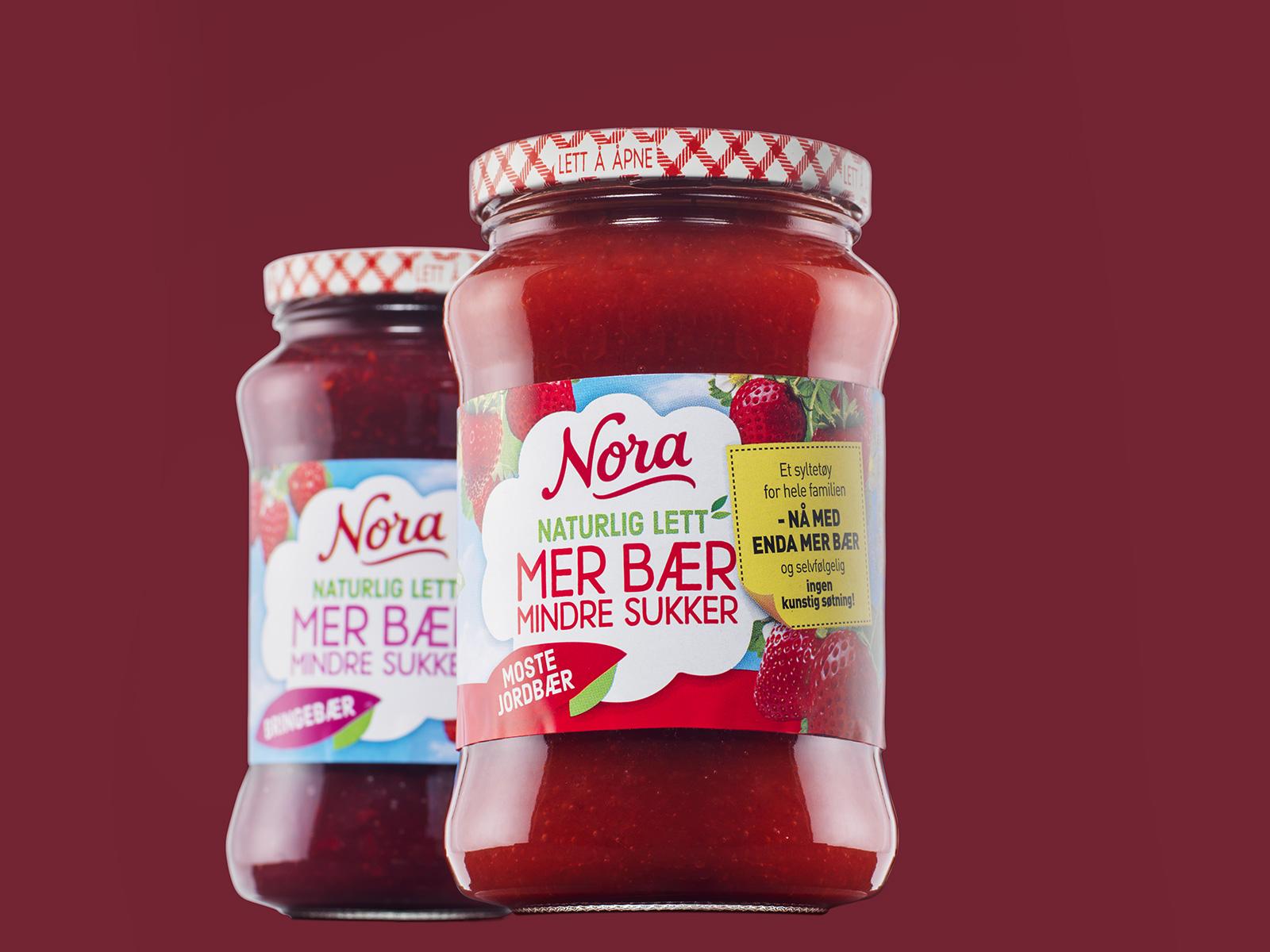 2 glass Nora syltetøy